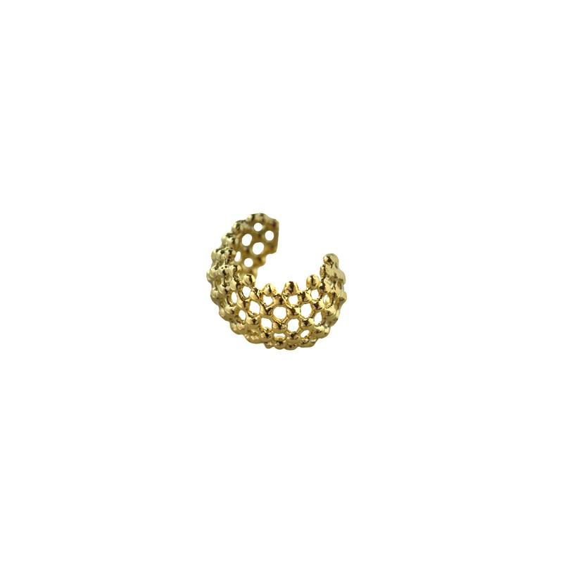Brinco Piercing Fake Trabalhado Banhado a Ouro 18k