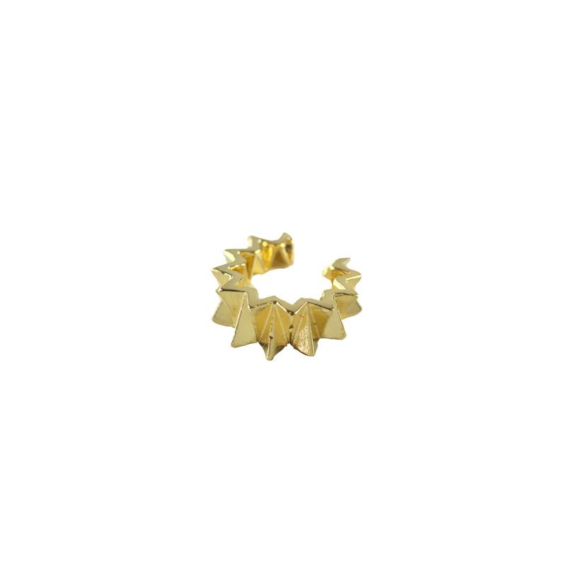 Brinco Piercing Fake Triângulos Banhado a Ouro 18k