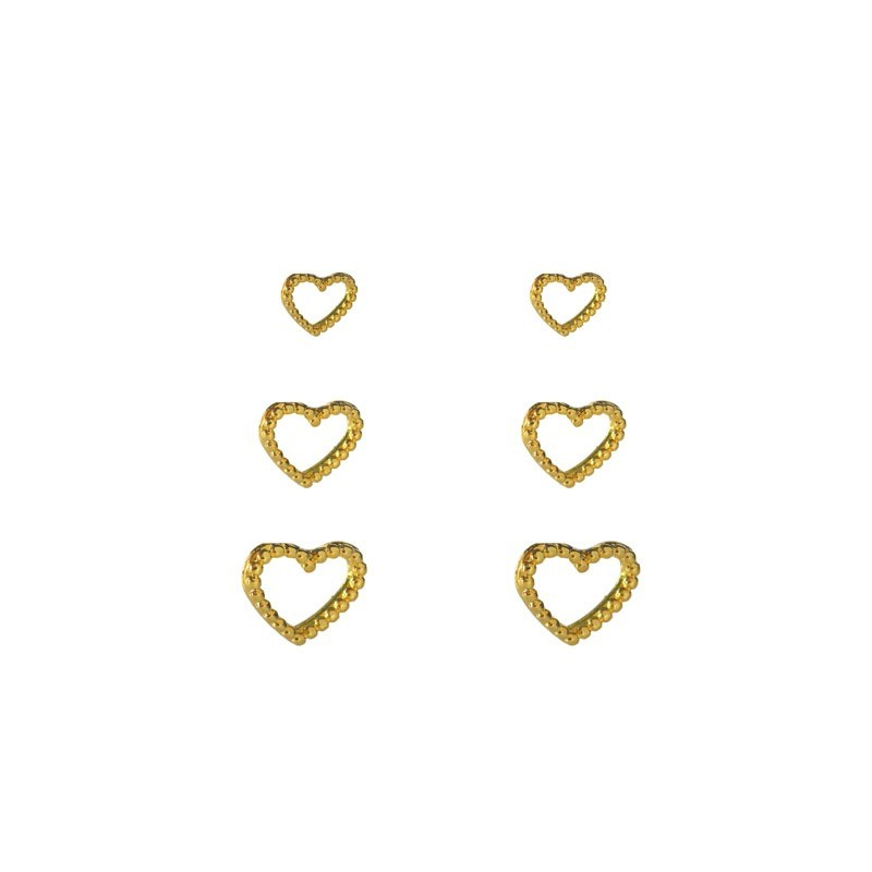 Brinco Trio de Coração Minimalista Folheado a Ouro 18k