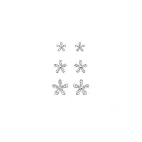 Brinco Trio Flor Cravejado Zircônias Folheado Ródio Branco