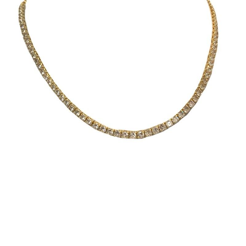 Colar Choker Riviera Zircônias Cristal Média Banhada a Ouro 18k