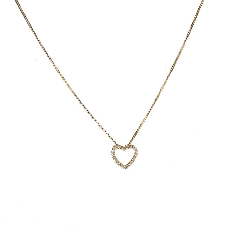 Colar Coração Microcravejado Banhado a Ouro 18k