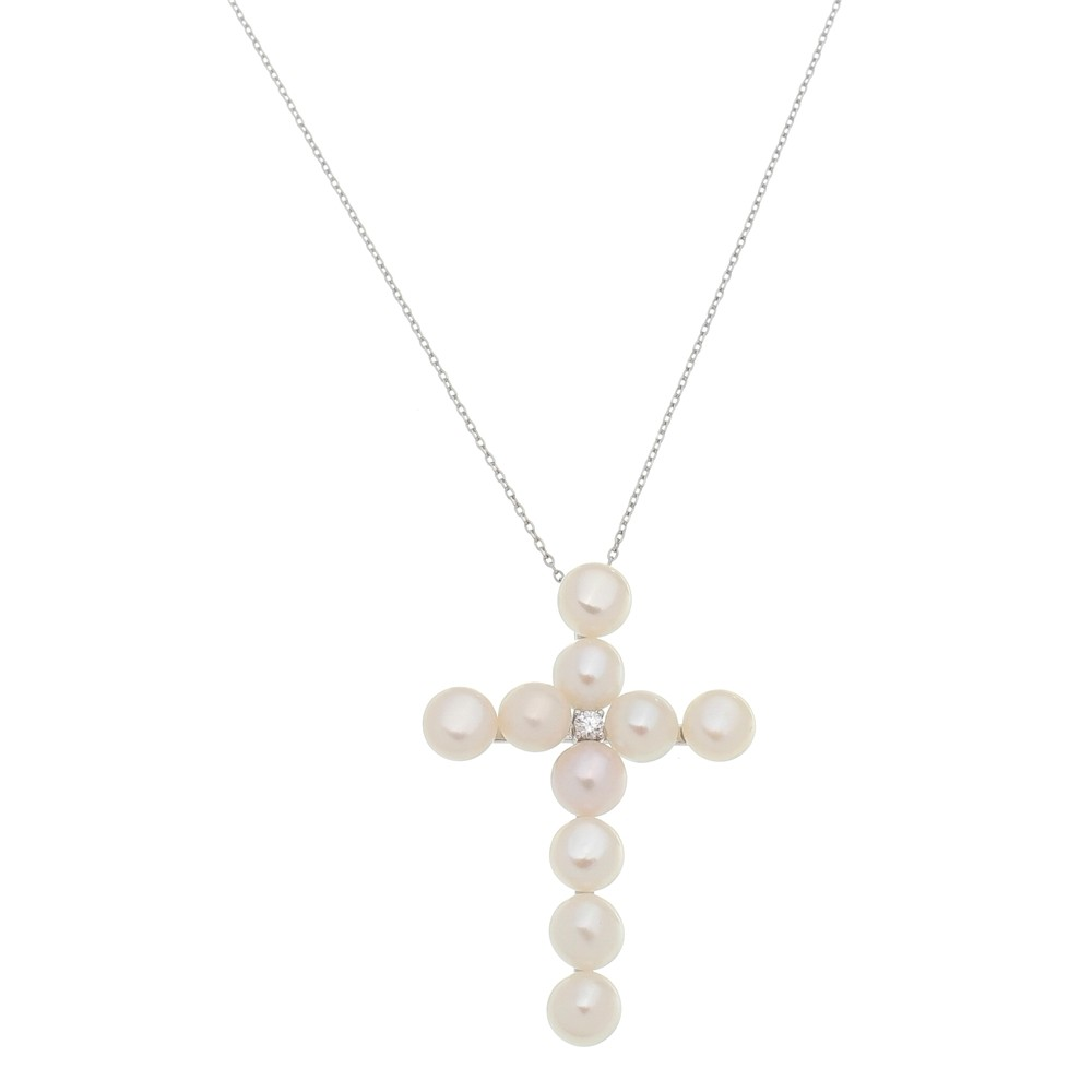 Colar Crucifixo de Pérolas Folheado a Ródio Branco