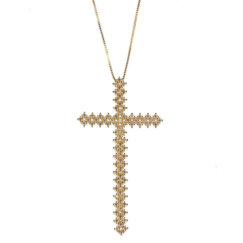 Colar Crucifixo Maleável Microcravejado Zircônias Ouro 18k