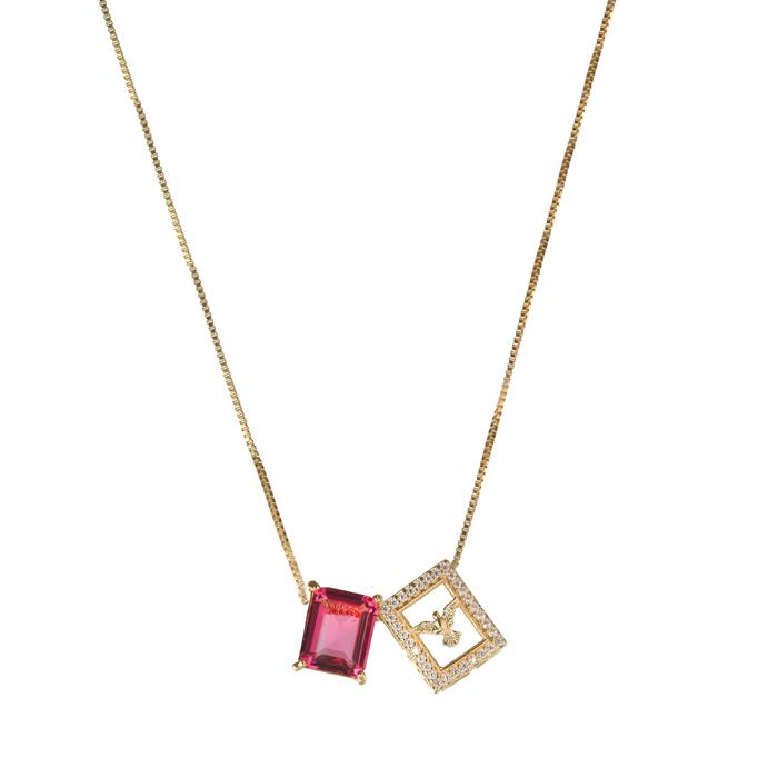Colar Escapulário Cravejado com Pedra Pink  Banhado a Ouro 18k