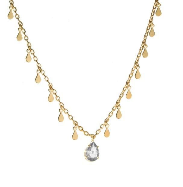 Colar Gargantilha com Gotinhas e Pedra Cristal Banhado a Ouro 18k
