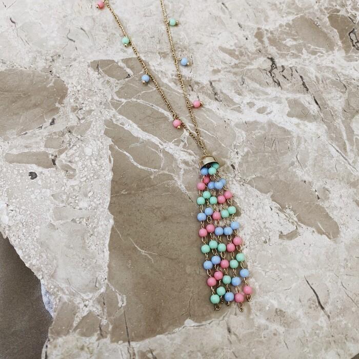 Colar Longo Bolinhas Candy Colors Banhado a Ouro 18k