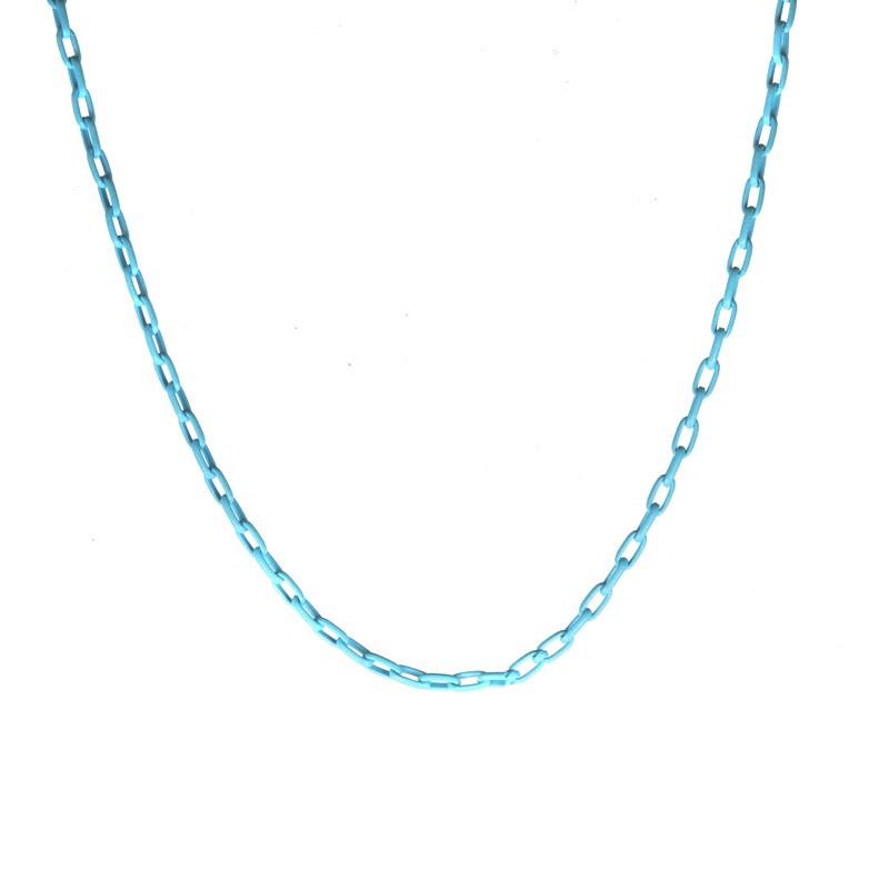 Colar Mini Corrente Azul Folheado a Ouro 18k