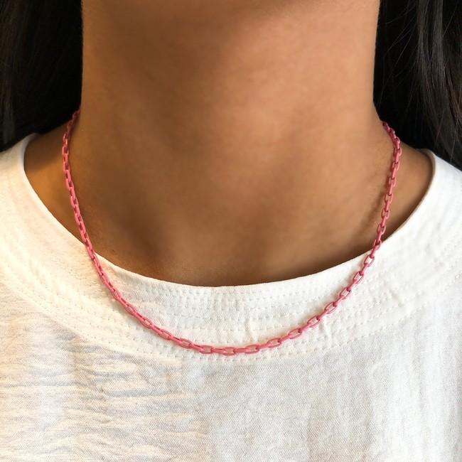 Colar Mini Corrente Rosa Folheado a Ouro 18k