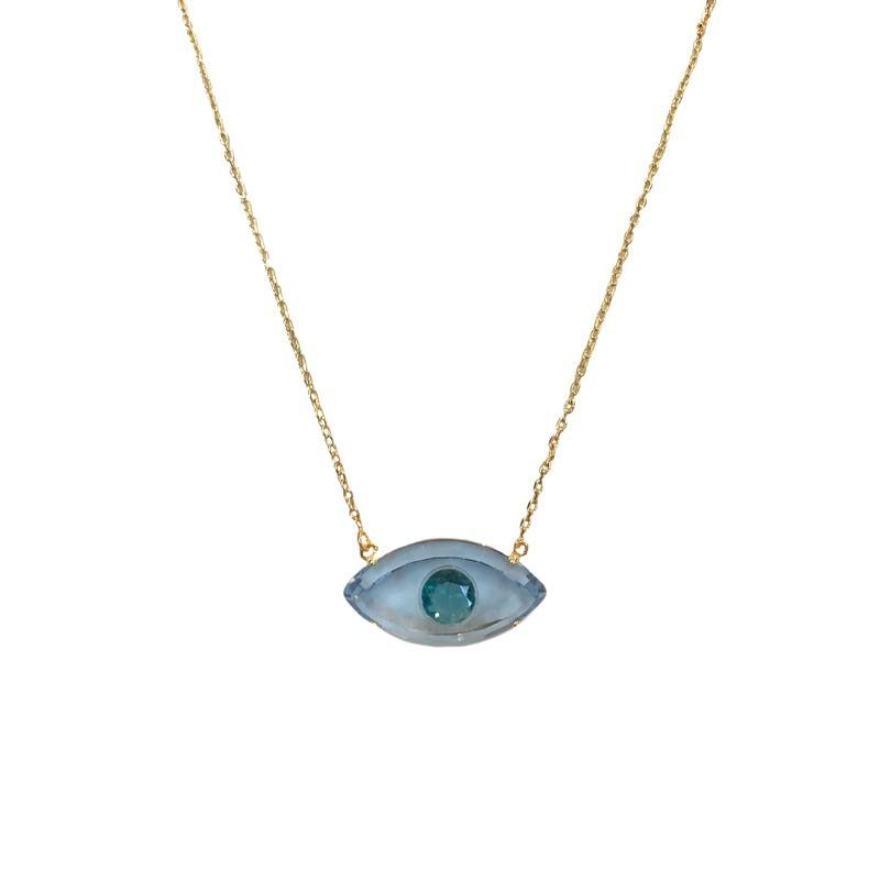 Colar Olho Grego Aqua Lapidado Banhado a Ouro 18k