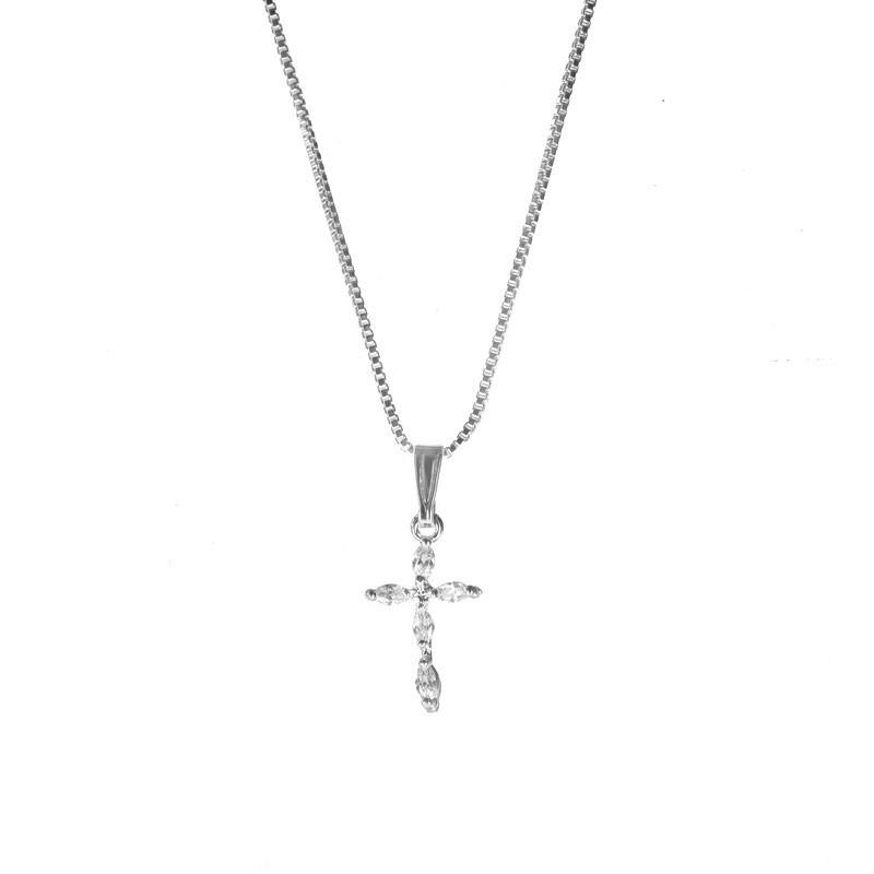 Colar Pingente Crucifixo de Zircônias Folheado Ródio Branco