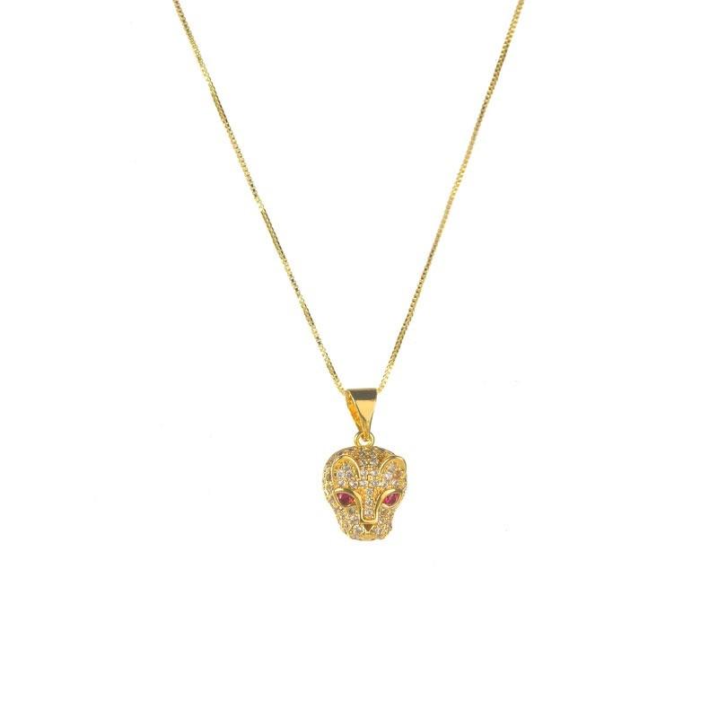 Colar Tigre Cravejado Folheado a Ouro 18k Luxo