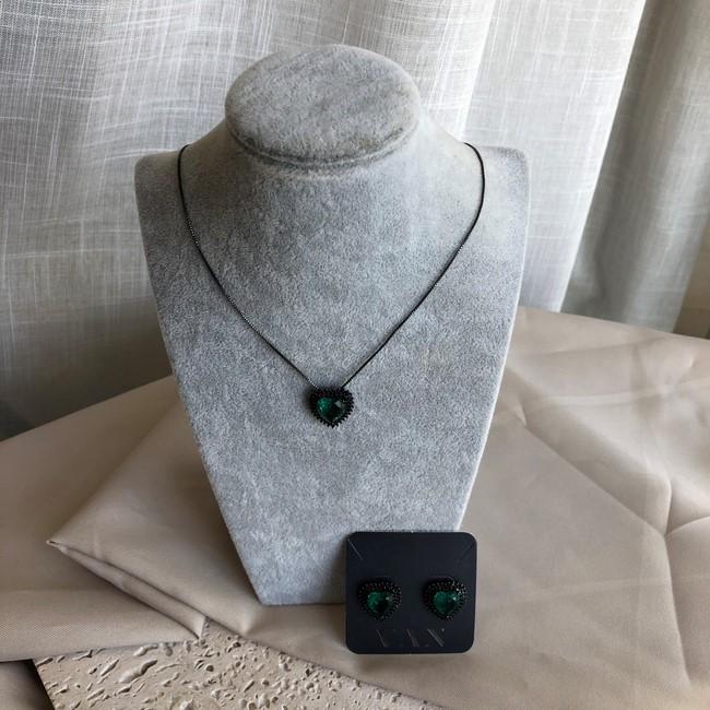 Conjunto Coração com Pedra Verde Banhado a Ródio Negro