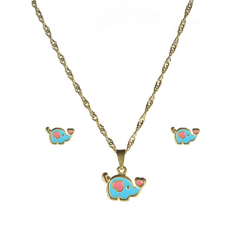 Conjunto Infantil Colar e Brinco Elefantinho Azul Folheado a Ouro 18k
