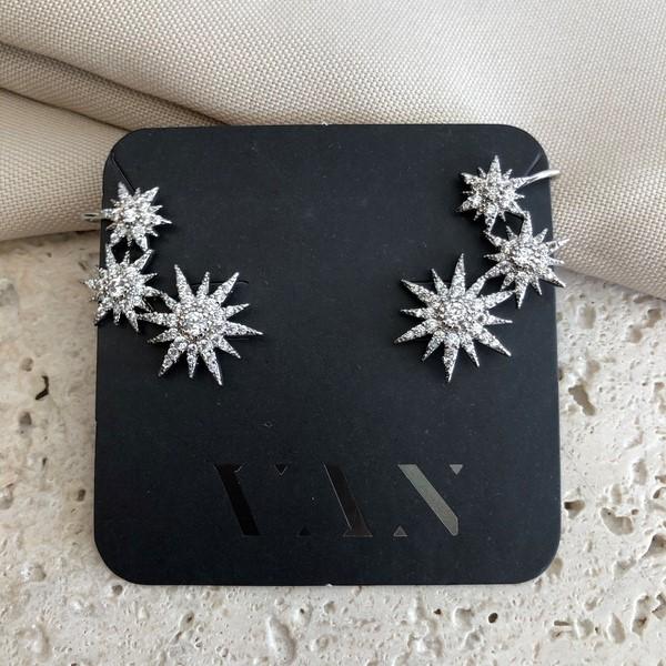 Brinco Ear Cuff Estrelas Cravejados Banhado a Ródio Branco