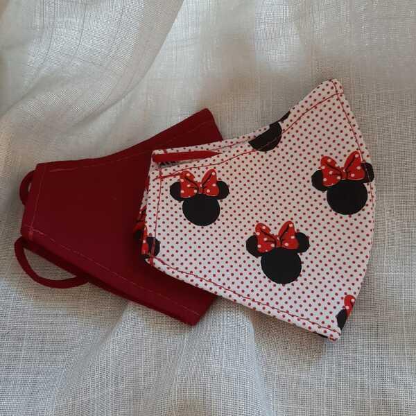 Kit 2 Máscaras Infantil Minnie Mouse e Vermelho Bordô