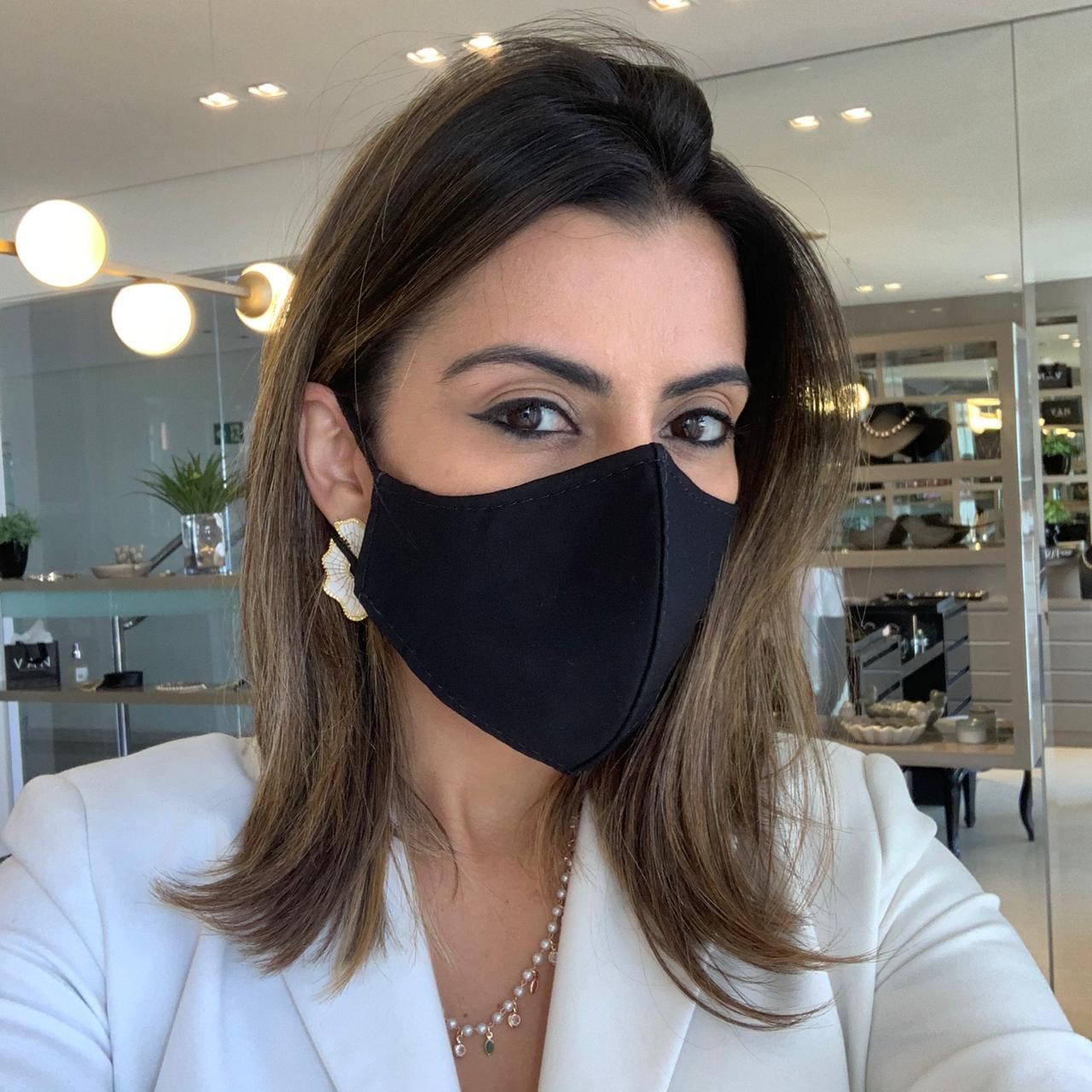 Kit 3 Máscaras Preta Dupla Camada