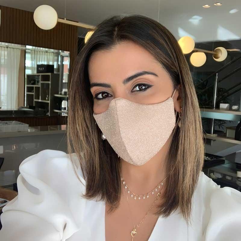 Máscara Lavável Lurex com Brilho Nude Com Necessaire