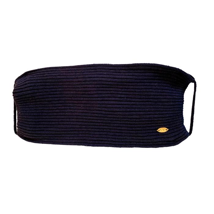 Máscara Tricot Forrada Luxo Azul Marinho Lavável