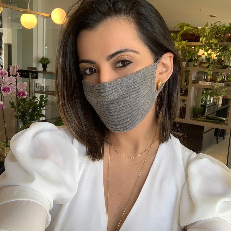 Máscara Tricot Forrada Luxo Cinza Lavável