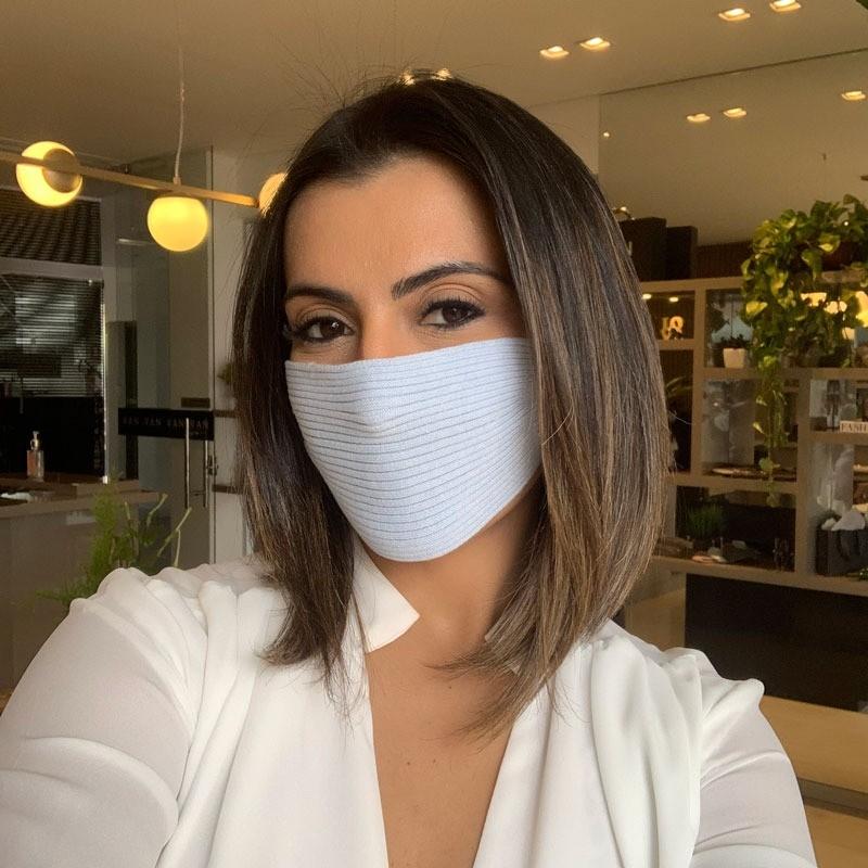 Máscara Tricot Lavável Luxo Premium Azul Candy