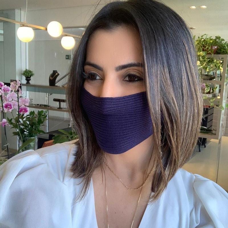 Máscara Tricot Lavável Luxo Premium Azul Marinho