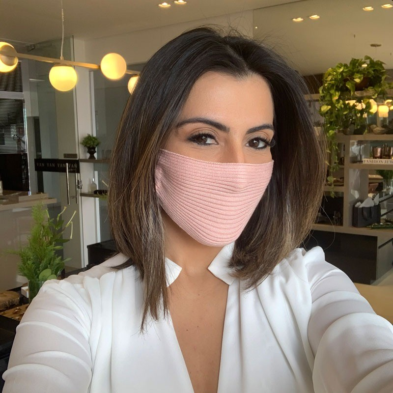 Máscara Tricot Lavável Luxo Premium Rosa Candy