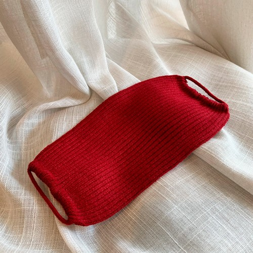 Máscara Tricot Lavável Luxo Premium Vermelho Bordô