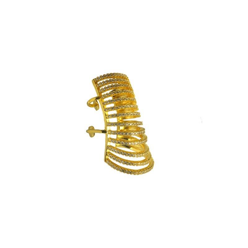 Maxi Piercing 13 Fileiras de Zircônias Folheado a Ouro 18k