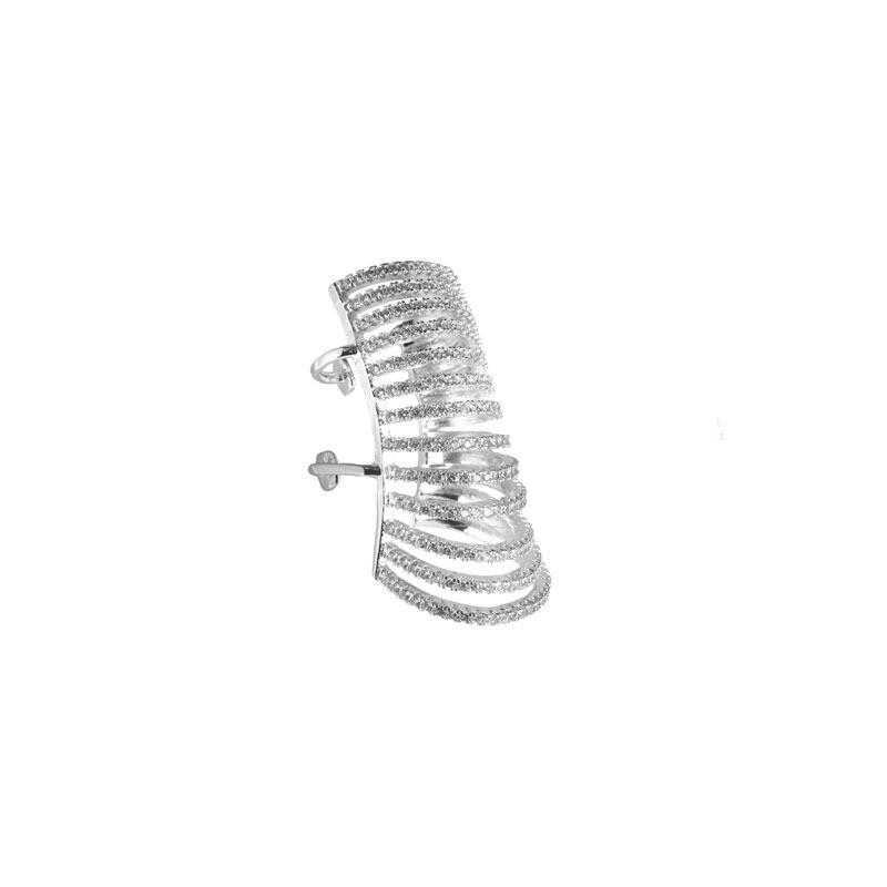 Maxi Piercing 13 Fileiras de Zircônias Folheado Ródio Branco