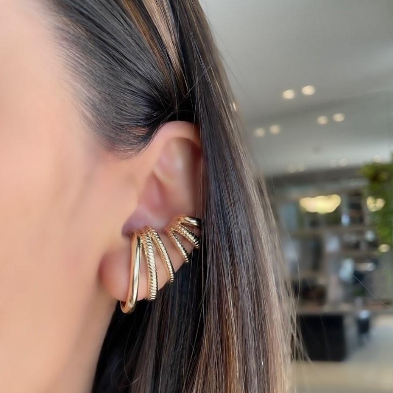 Mix Ear Hook + Piercing Detalhes de Corda