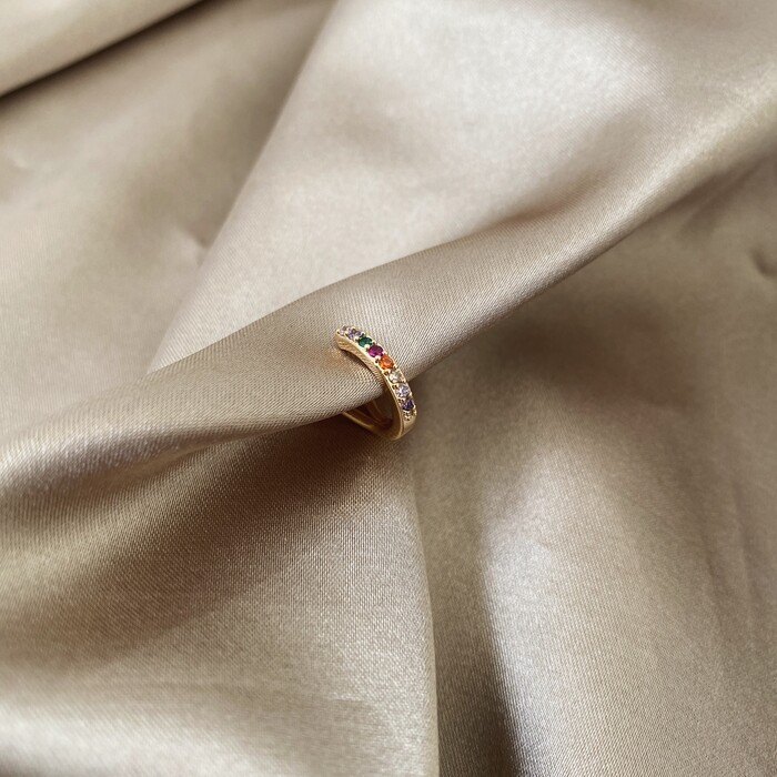 Piercing Fake Fileira Única Microcravejado Zircônias Coloridas Banhado a Ouro 18k