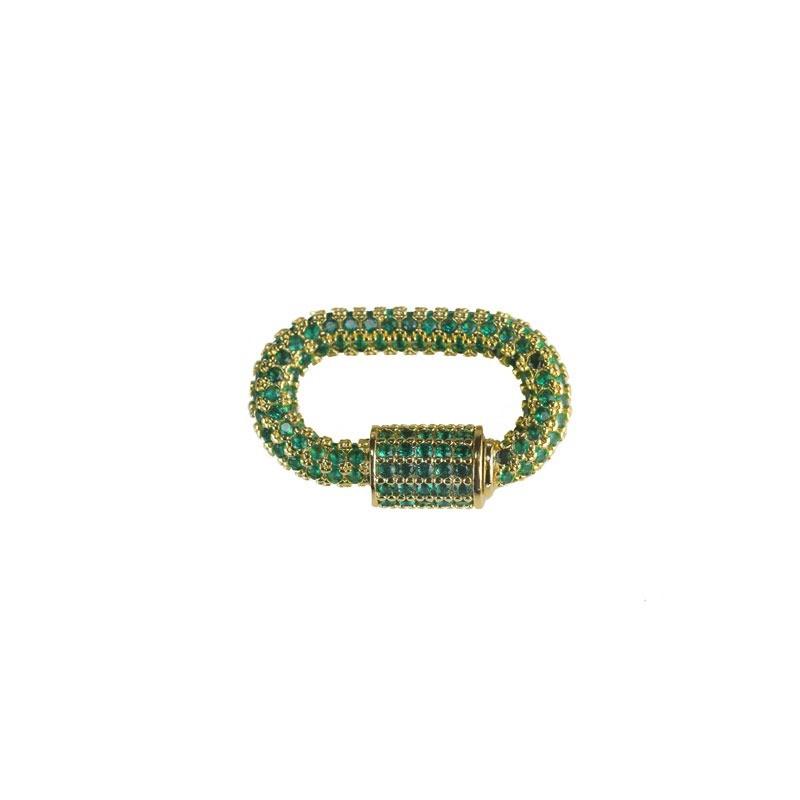 Pingente Locker Microcravejado Verde Folheado a Ouro 18k