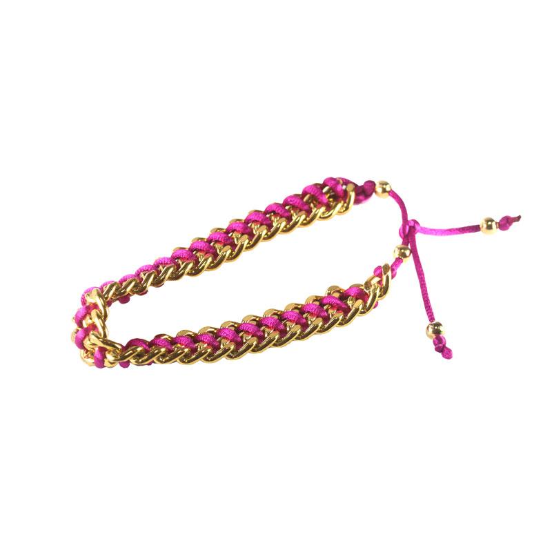 Pulseira De Corrente com Cordão de Seda Pink