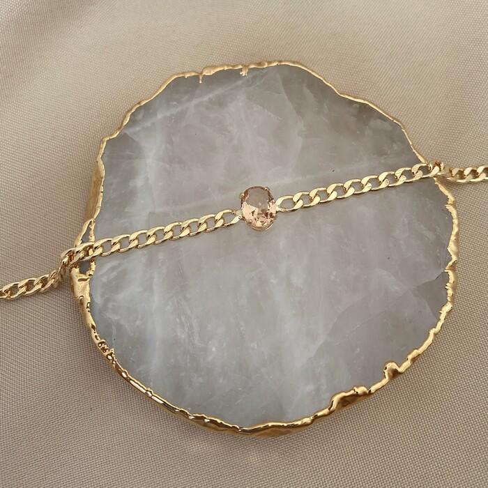 Pulseira De Corrente Fina com Pedra Oval Morganita Banhado a Ouro 18k