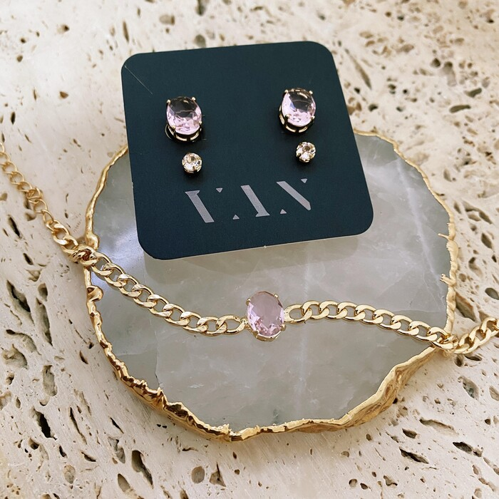 Pulseira De Corrente Fina com Pedra Oval Rosé Gold Banhado a Ouro 18k