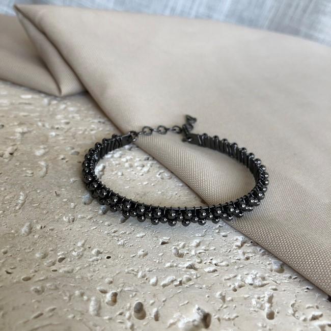 Pulseira Estruturada com Esferinhas Banhado a Ródio Negro