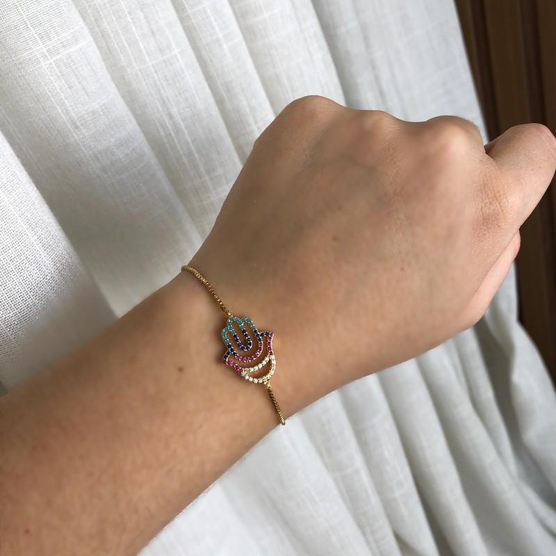 Pulseira Mão de Fátima Cravejado Colorido de Ajuste Folheada a Ouro 18K
