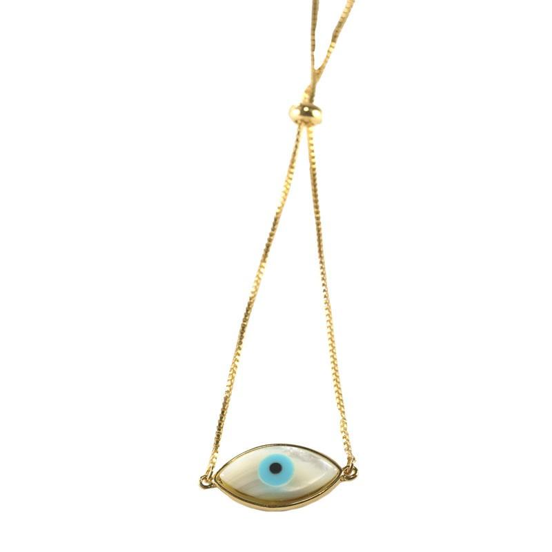 Pulseira Olho Grego Navete Liso de Ajuste Folheado a Ouro 18k