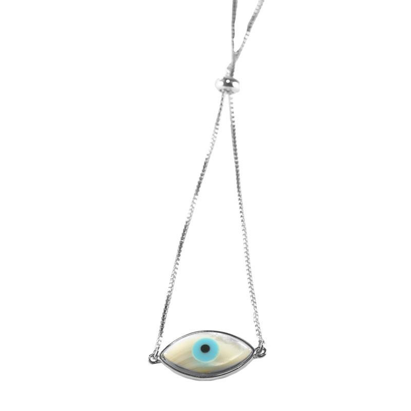 Pulseira Olho Grego Navete Liso de Ajuste Folheado a Ródio Branco