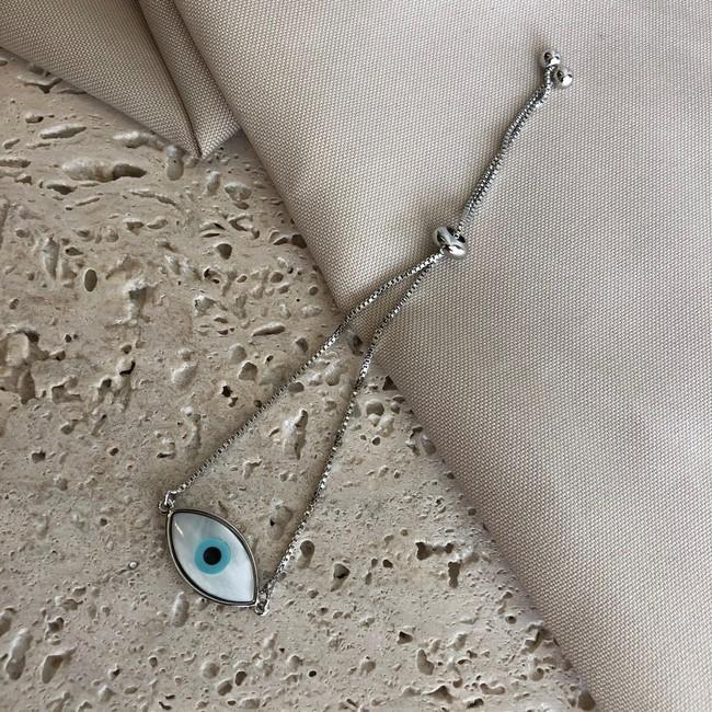 Pulseira Regulável Olho Grego Banhado a Ródio Branco