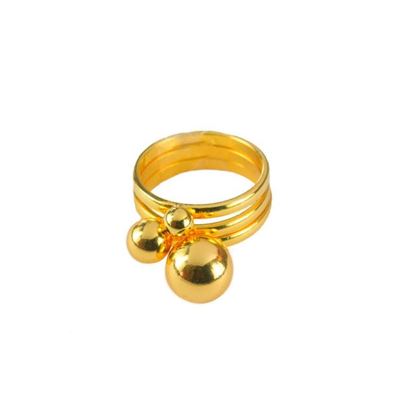Trio Anéis de Esferas folheado a Ouro 18k