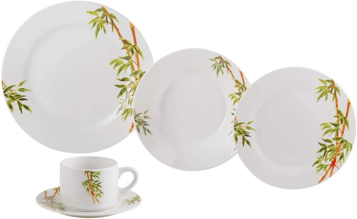 Aparelho De Jantar 20 Peças Lyor 2135 Tropicalis Porcelana Branco
