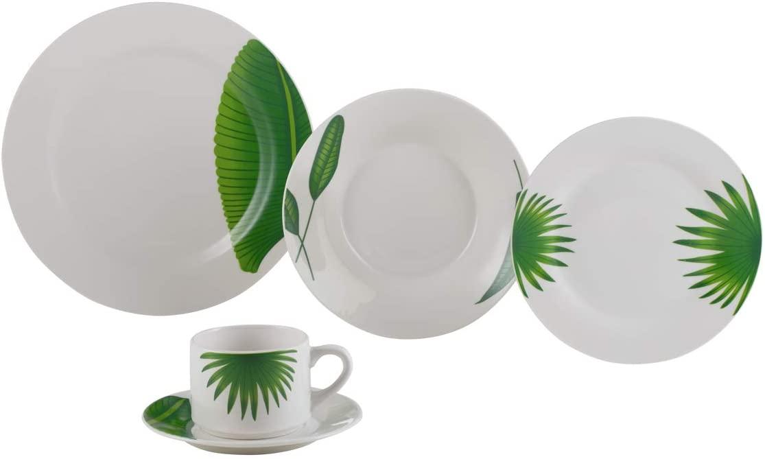 Aparelho De Jantar 20 Peças Lyor 2136 Leaves Porcelana Branco