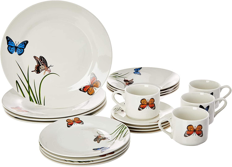 Aparelho De Jantar 20 Peças Lyor 2137 Butterflies Porcelana Branco