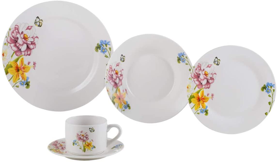 Aparelho De Jantar 20 Peças Lyor 2139 Summer Porcelana Branco