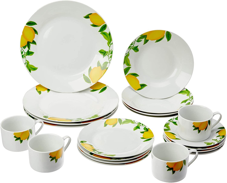 Aparelho De Jantar 20 Peças Lyor 2141 Lemons Porcelana Branco