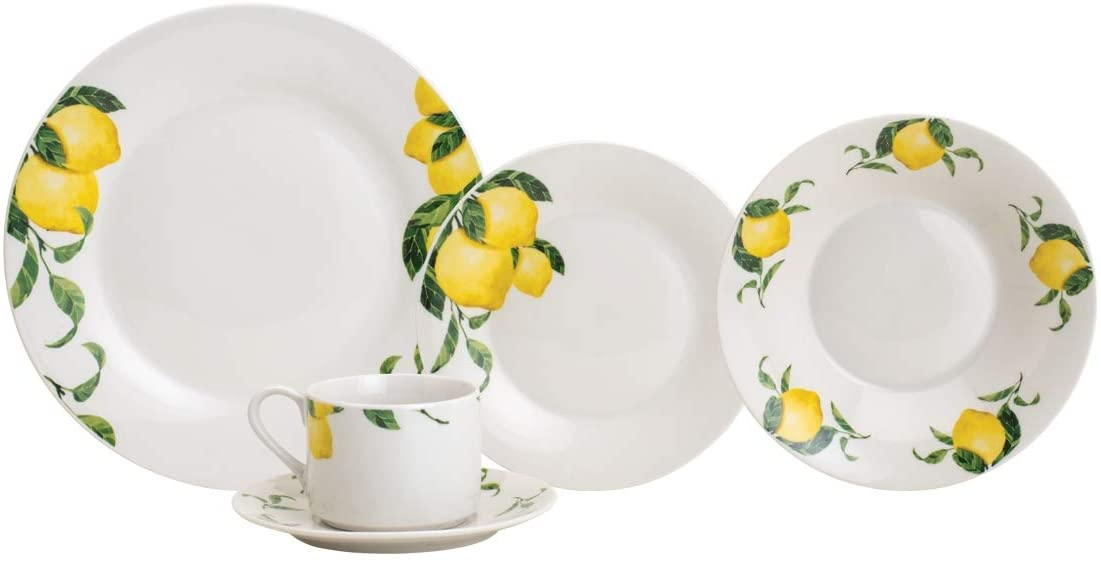 Aparelho De Jantar 20 Peças Lyor 2273 Sicilian Lemon Porcelana Branco