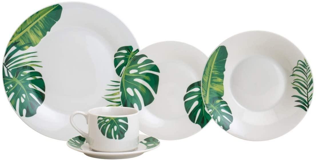 Aparelho De Jantar 20 Peças Lyor 2274 Tropical Porcelana Branco