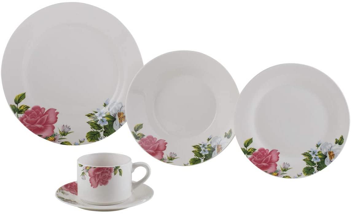 Aparelho De Jantar 20 Peças Lyor Roses Porcelana Branco